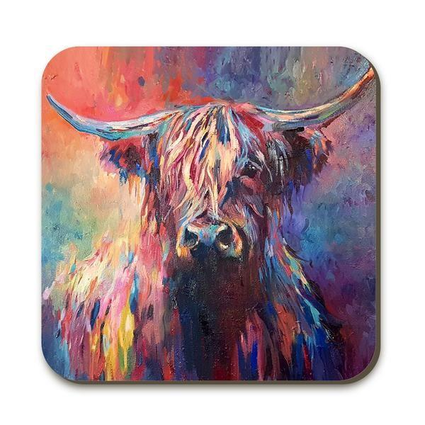 Colourful Highland Cow Coaster