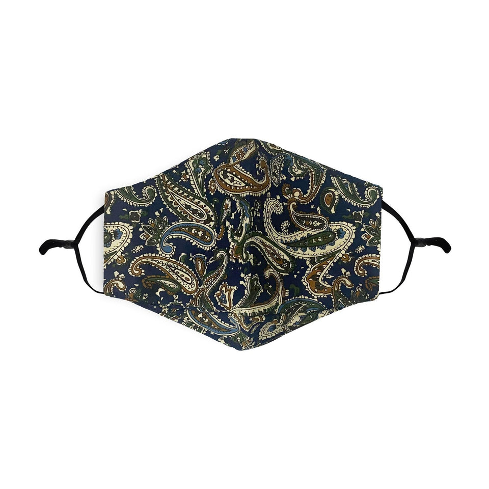 Blue Paisley Print Reusable Cotton Face Mask