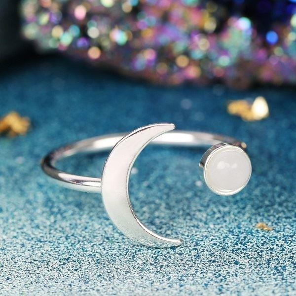 Silver Moon and Labradorite Colour Resin Gem Open Ring
