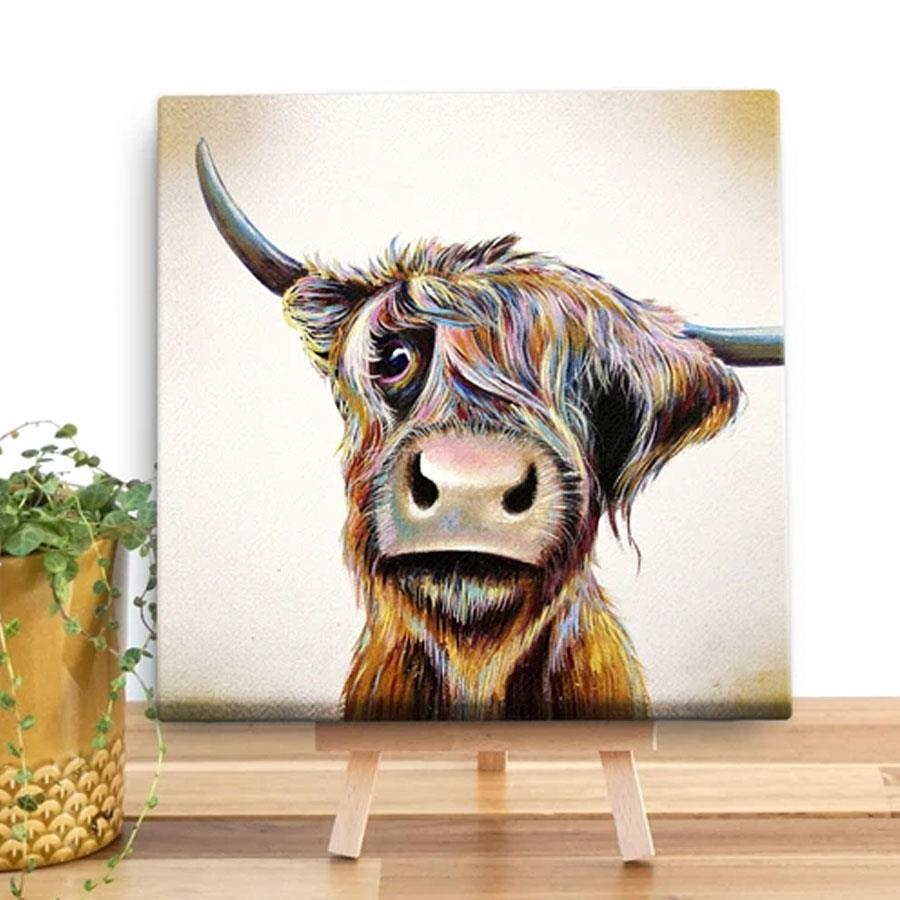 A Bad Hair Day Highland Cow Canvas Square Art Print