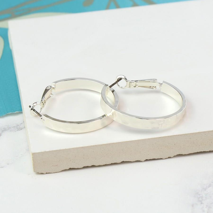 Hammered Silver Hoop Earrings