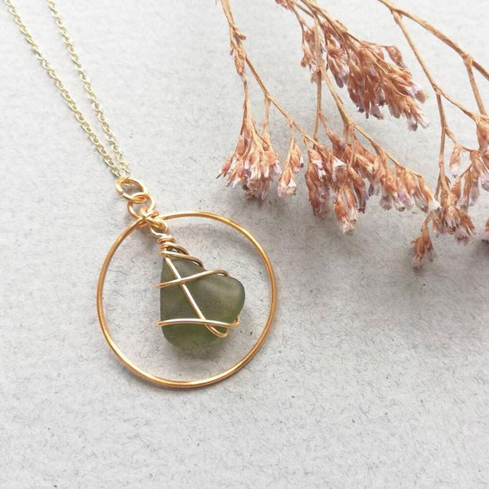 Gold Hoop Green Sea Glass Necklace