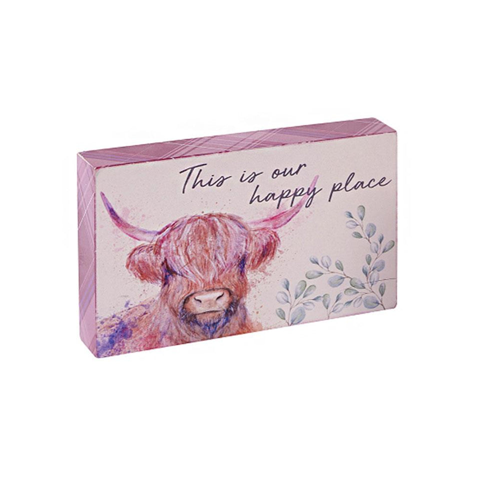 Highland Cow Happy Place Block Decoration