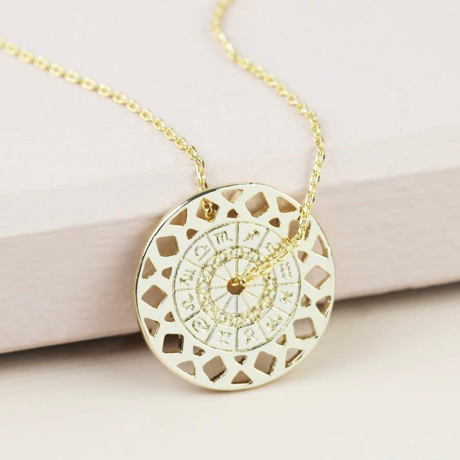 Long Gold Zodiac Spinning Coin Necklace