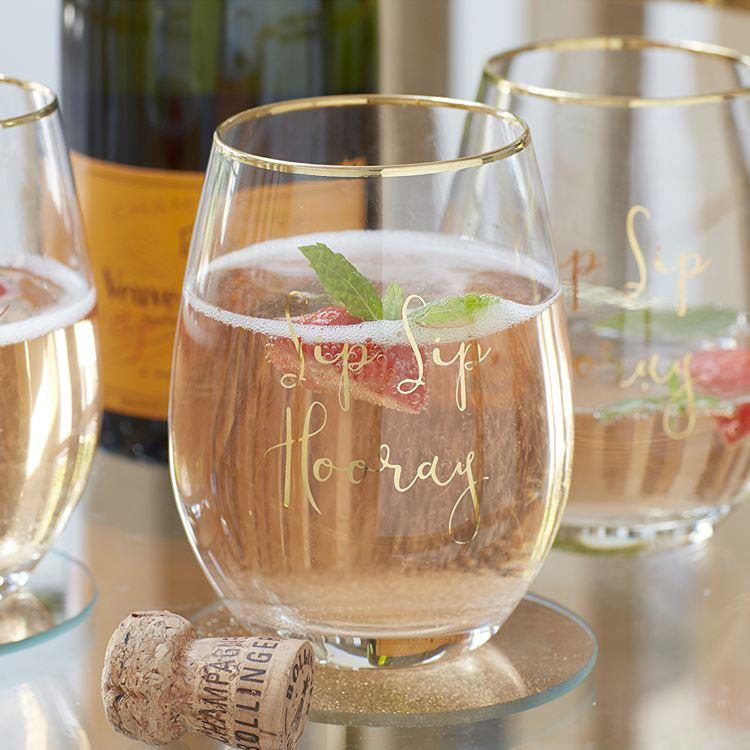 Sip Sip Hooray Stemless Wine Glass