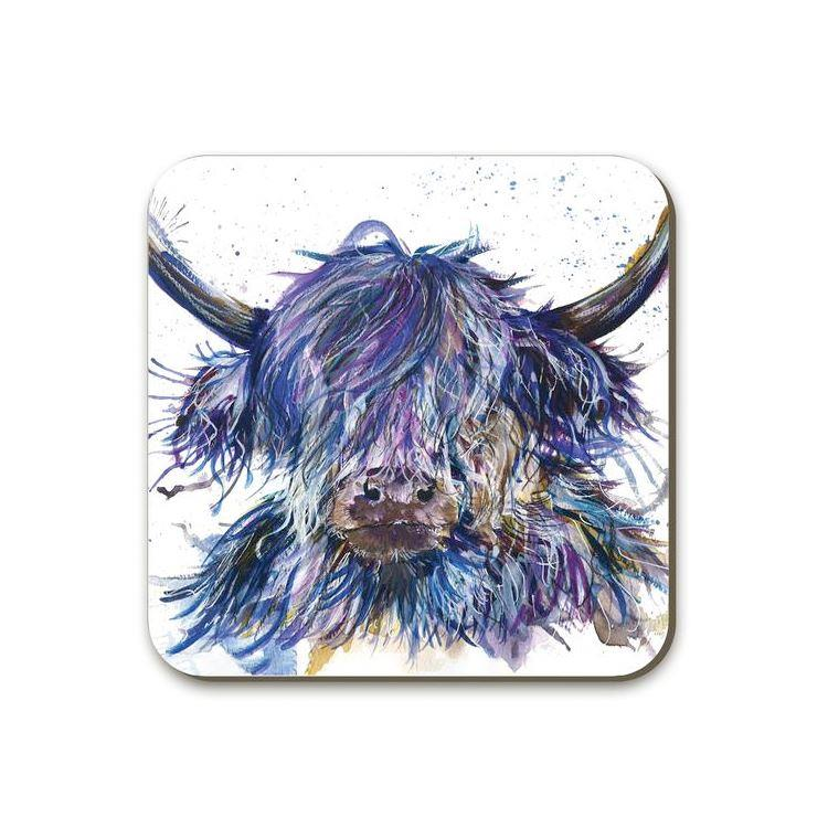 Purple Scruffy Splatter Highland Cow Coaster