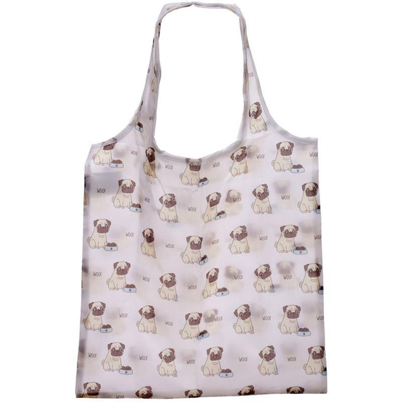 Pug Silhouette Foldable Bag