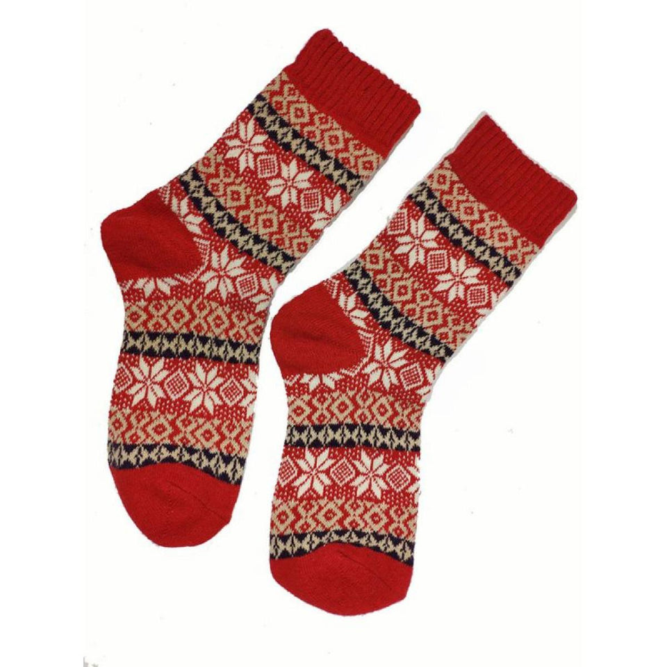 Red Shetland Fairisle Wool Blend Socks