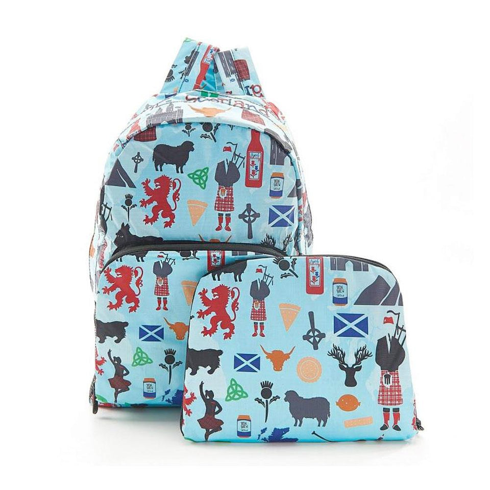 Pale Blue Scottish Montage Foldable Backpack