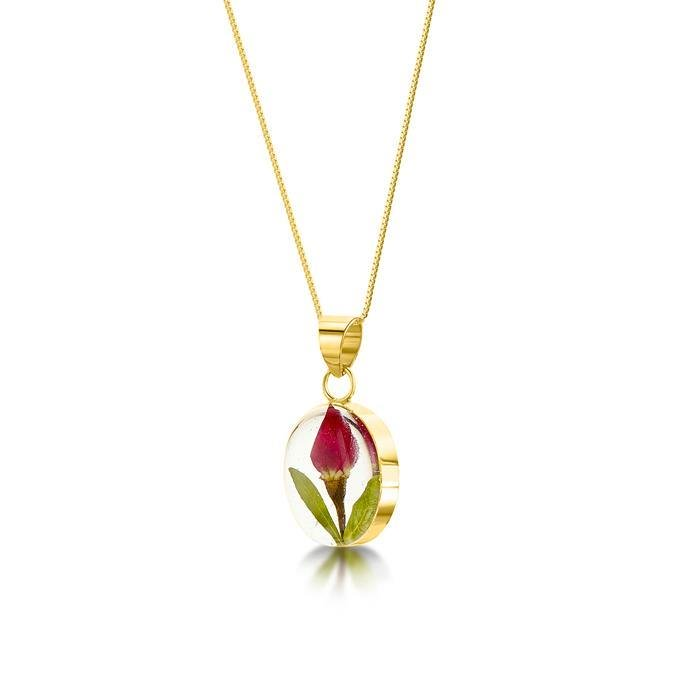 Oval Rose Bud Pendant Necklace | Gold Plated