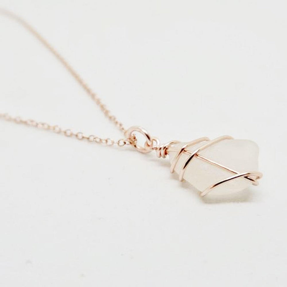 Rose Gold Classic White Sea Glass Necklace