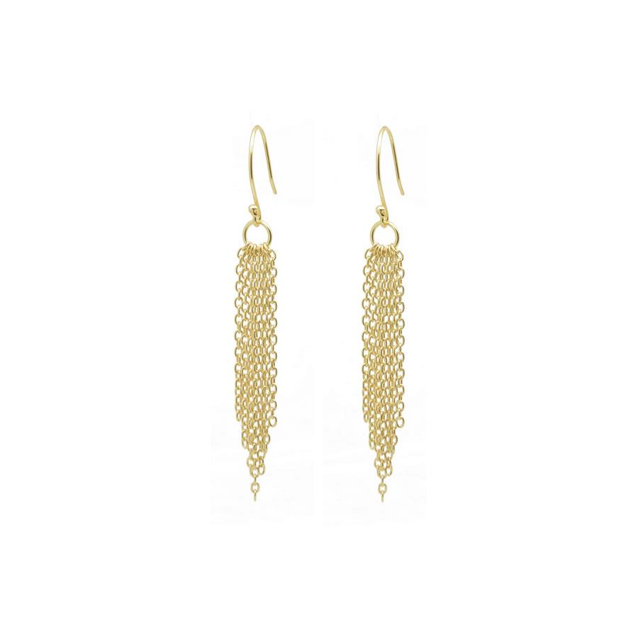 Multi Graduated Chains Earrings in Gold
