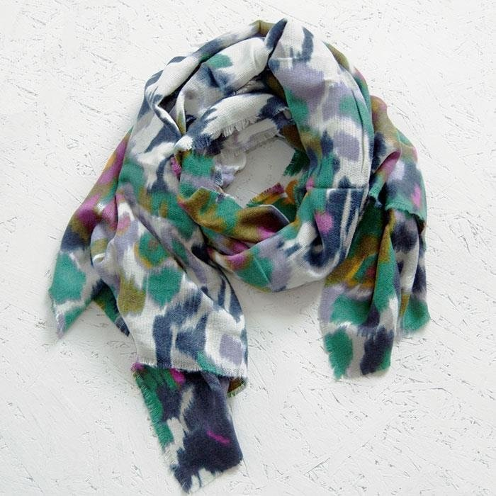 Green Mix Soft Woven Printed Ikat Style Scarf