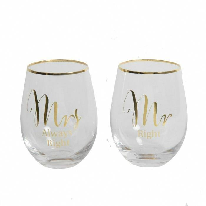 Gold Mr Right & Mrs Always Stemless Wine Glasses | Set of 2