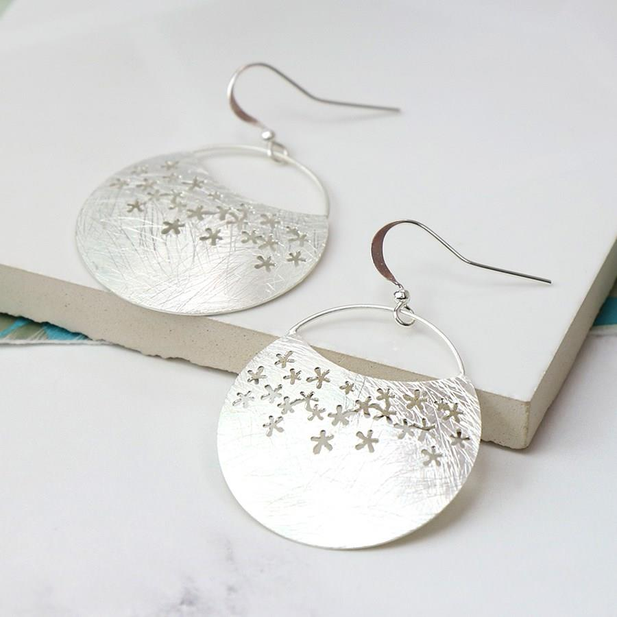 Scratched Silver Plated Flower Crescent Hook Earrings