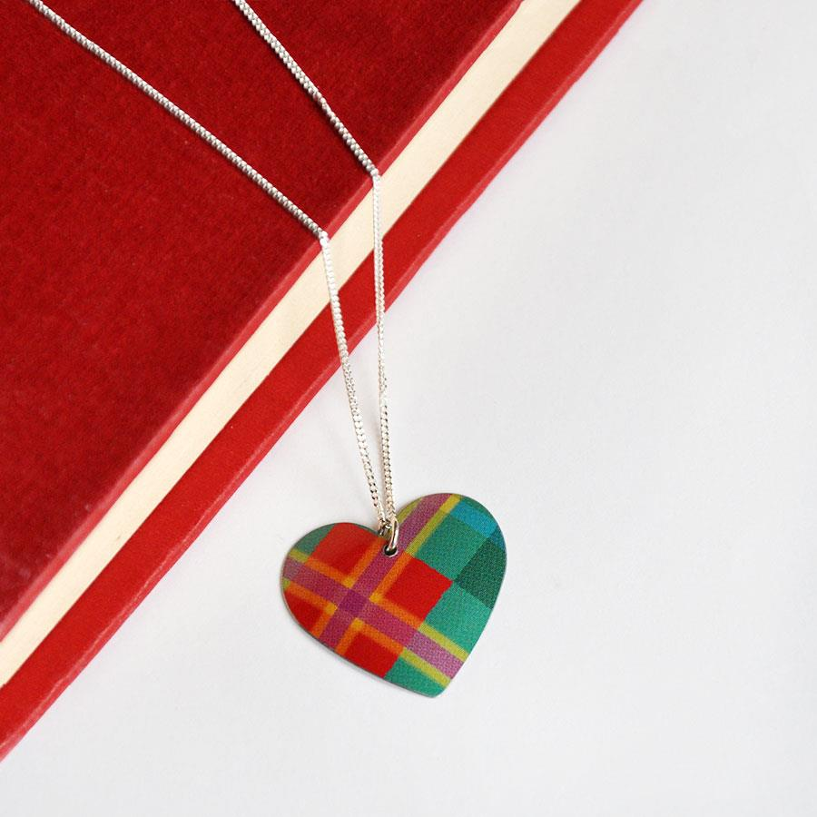Red & Green Tartan Heart Pendant Necklace