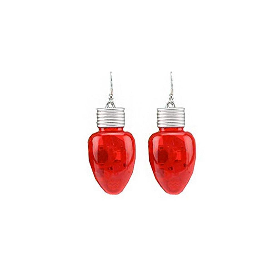 Joy to the World Flashing Red Bulb Earrings