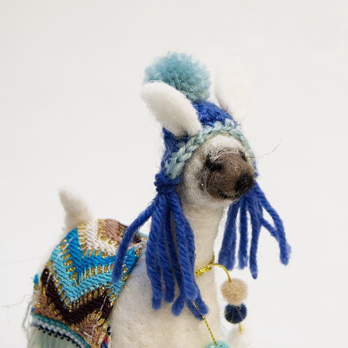 Felt Standing Sparkly Llama Decoration