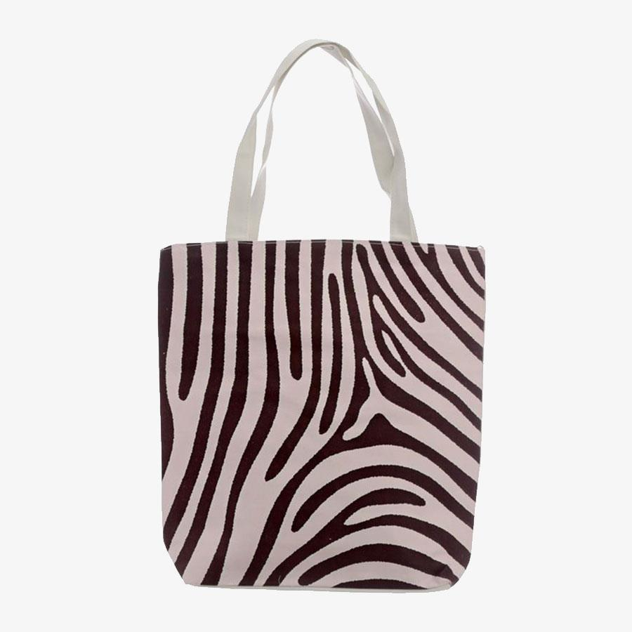 Zebra Print Cotton Bag with Zip and Lining