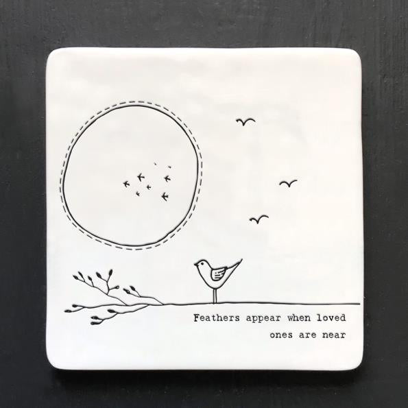 Feathers Appear Square Porcelain Coaster