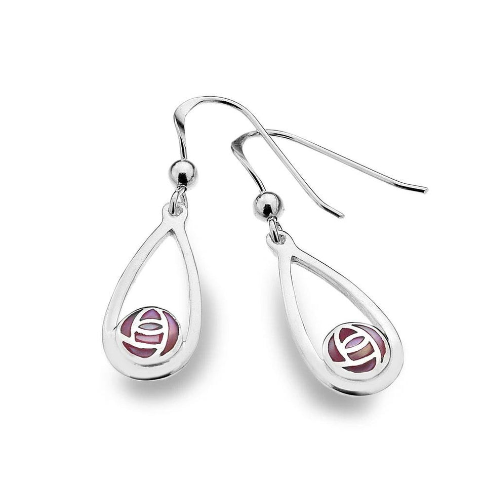 Mackintosh Rose with Pink Mother of Pearl Teardrop Silver Earrings