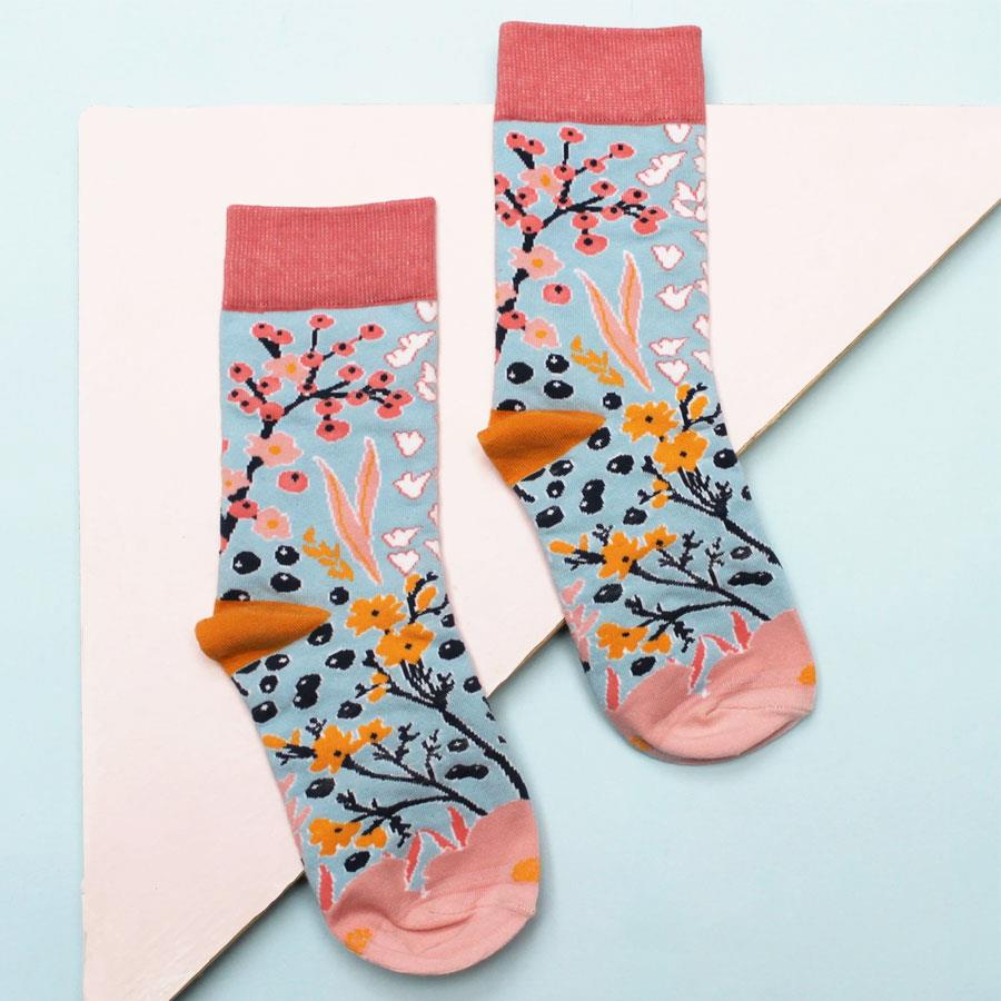 Eden Blue Berry Print Socks