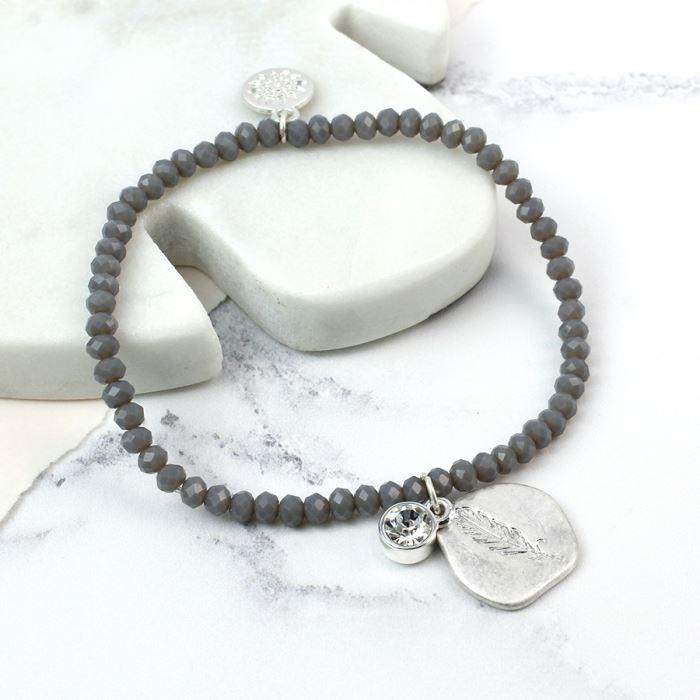 Grey Beads and Silver Plated Feather Imprint Bracelet