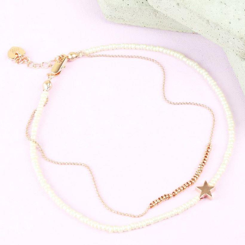 Beaded Star Anklet | Rose Gold