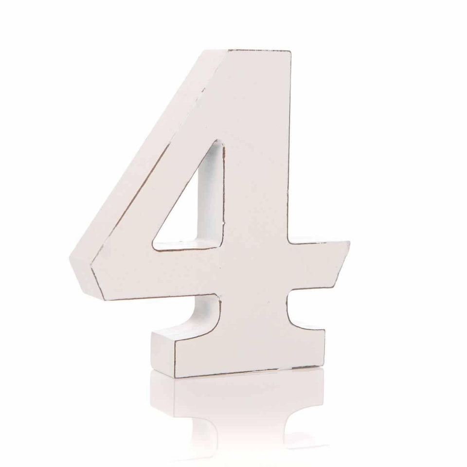 '4' Number White Block