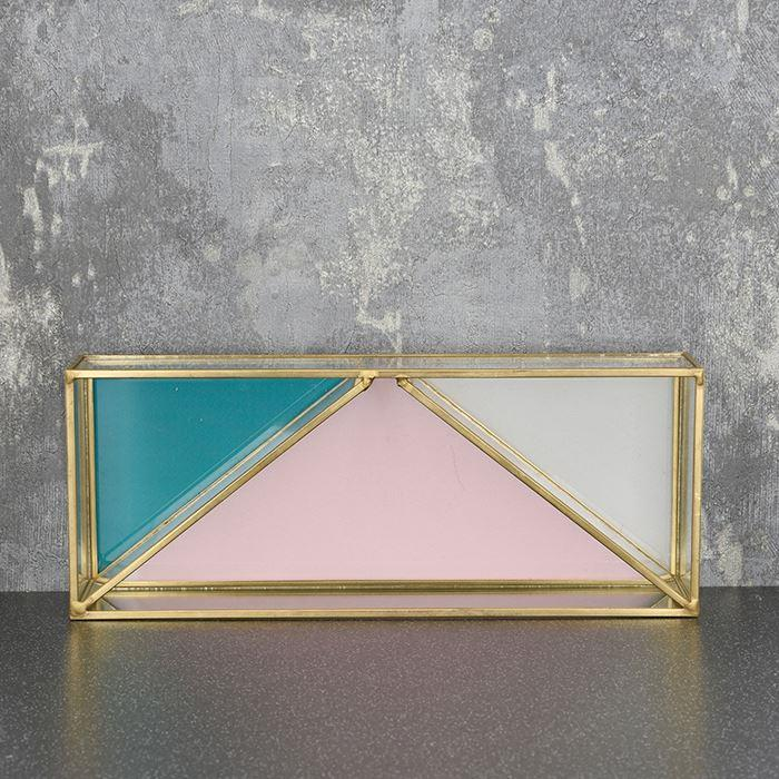 Glass Trinket Dish With Gold Edge | Teal, Pink & Grey