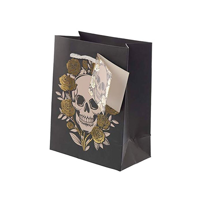 Small Metallic Skulls & Roses Gift Bag