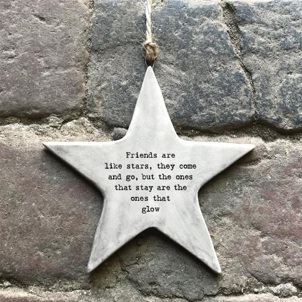 Friends Are Stars Rustic Porcelain Hanging Star
