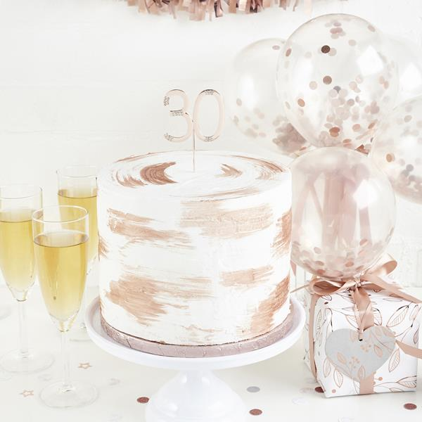 Rose Gold Diamante 30th Cake Topper