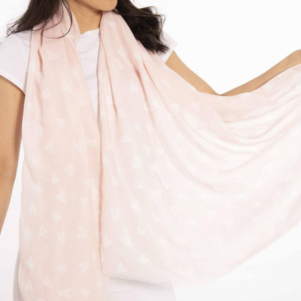 Boxed With Love Heart Patterned Pale Pink Scarf