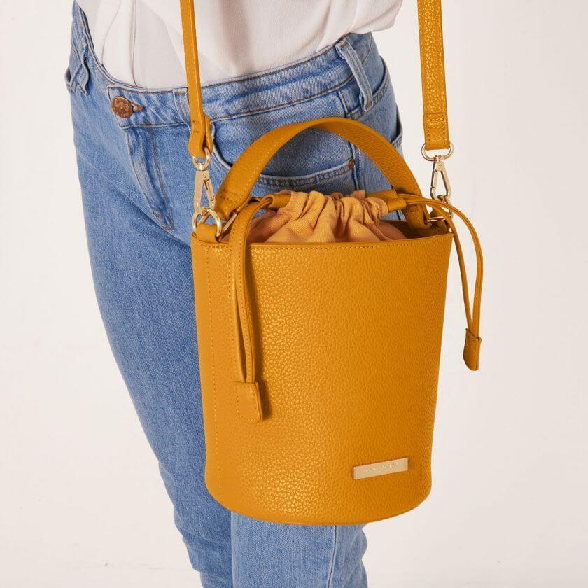 Amara Ochre Yellow Bucket Bag with Shoulder Strap