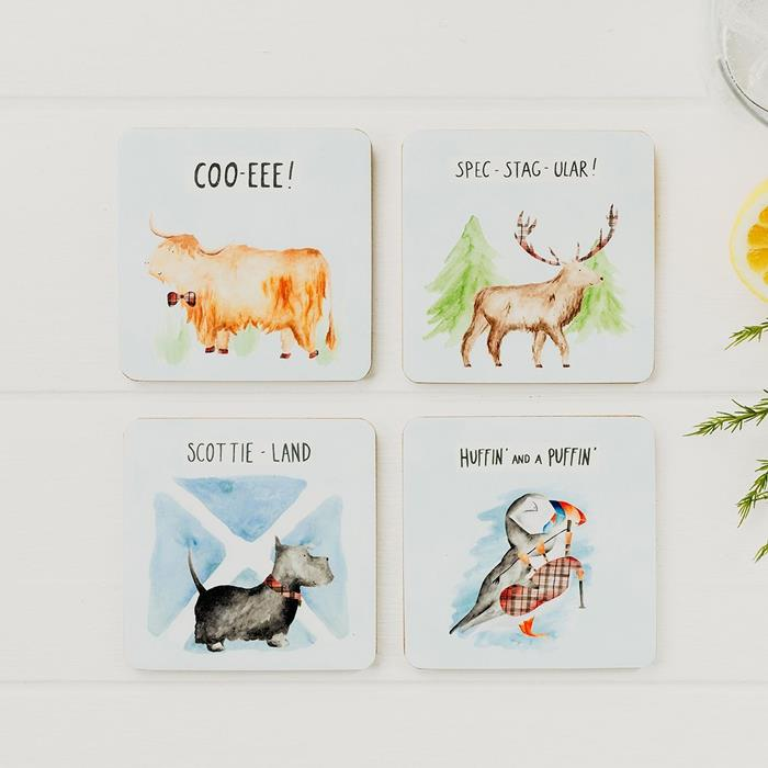 Humourous Beasties Mixed Coasters Set