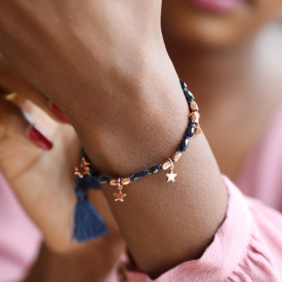 Navy and Rose Gold Friendship Bracelet with Stars