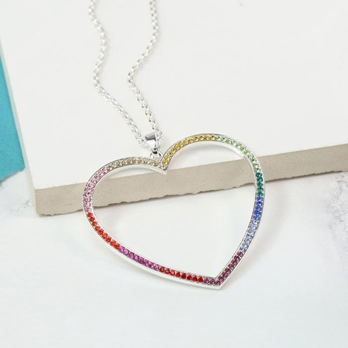 Multi Coloured Crystal Open Heart Necklace