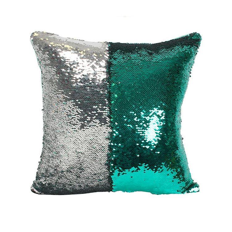 Reversible Silver & Green Sequin Filled Cushion