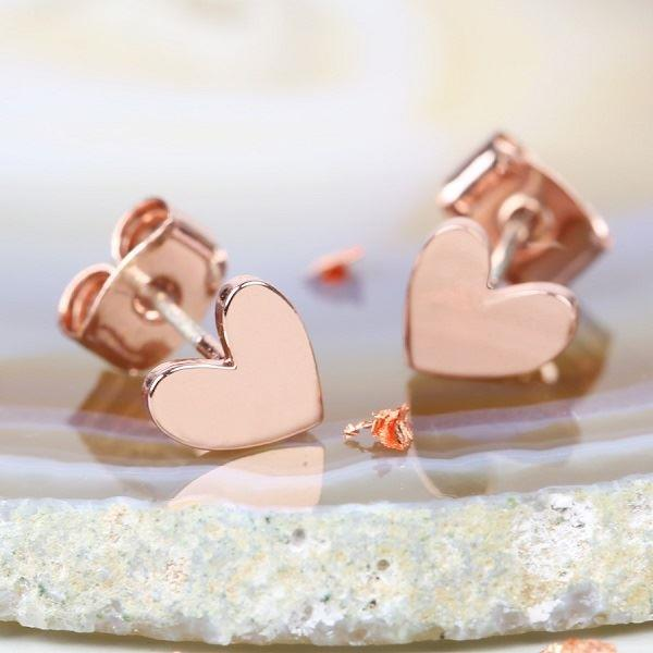 Rose Gold Shiny Heart Earrings
