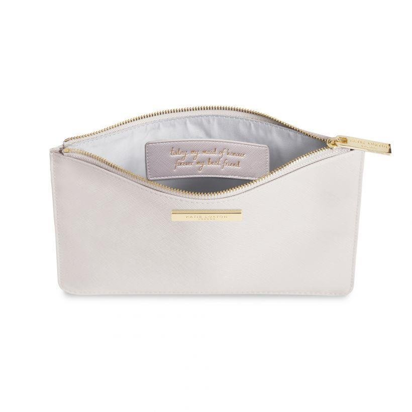 Maid of Honour Secret Message Perfect Pouch | Pearlesent White