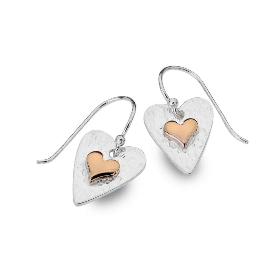 Textured Heart Rose Gold & Sterling Silver Earrings