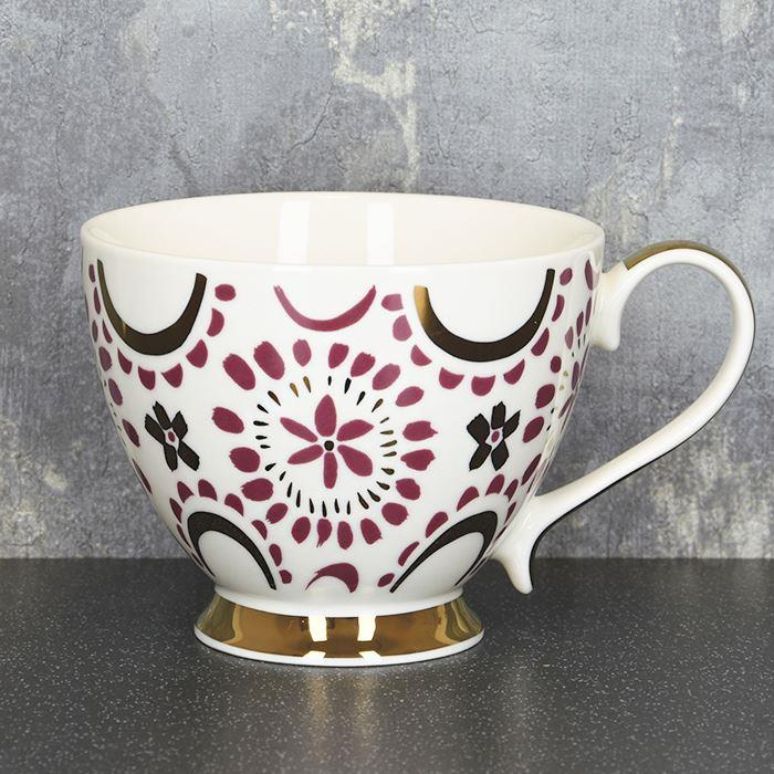 Footed Mug In Plum & Gold