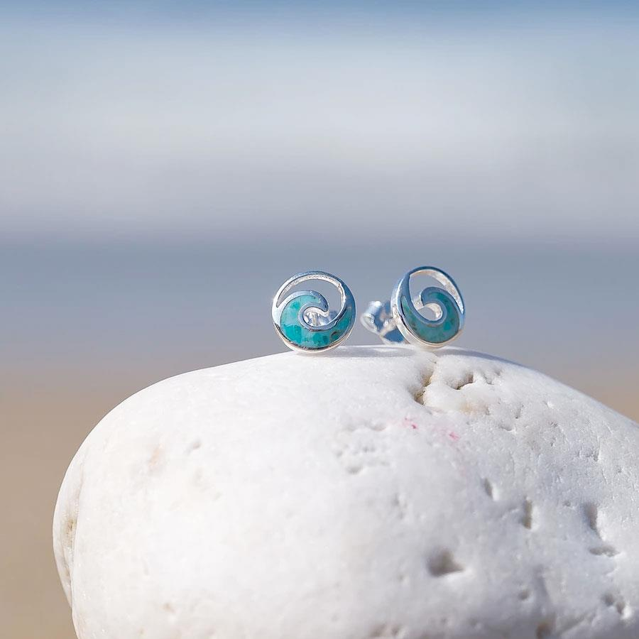 Ocean Wave Turquoise Silver Stud Earring
