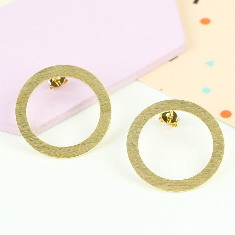 Gold Hoop Outline Earrings | Gold Plated