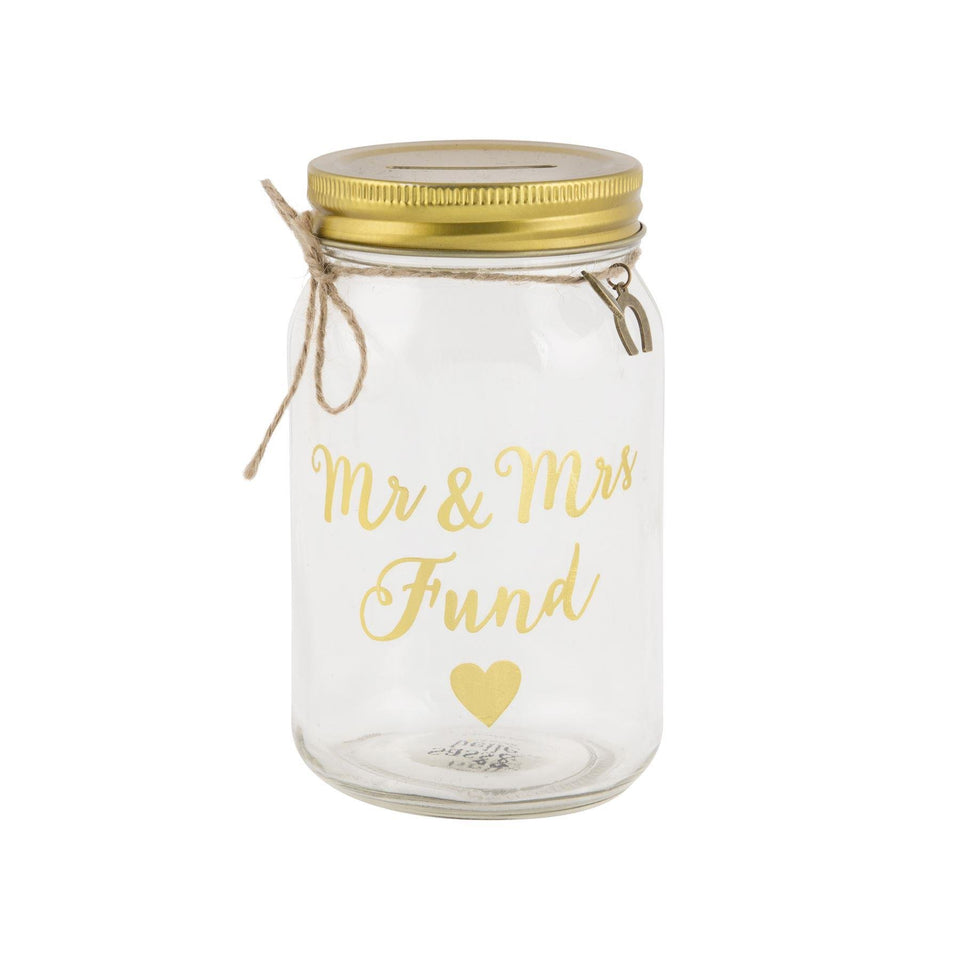 Mr & Mrs Glass Fund Jar Money Box