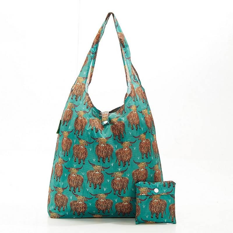 Teal Highland Cow Foldable Shopper