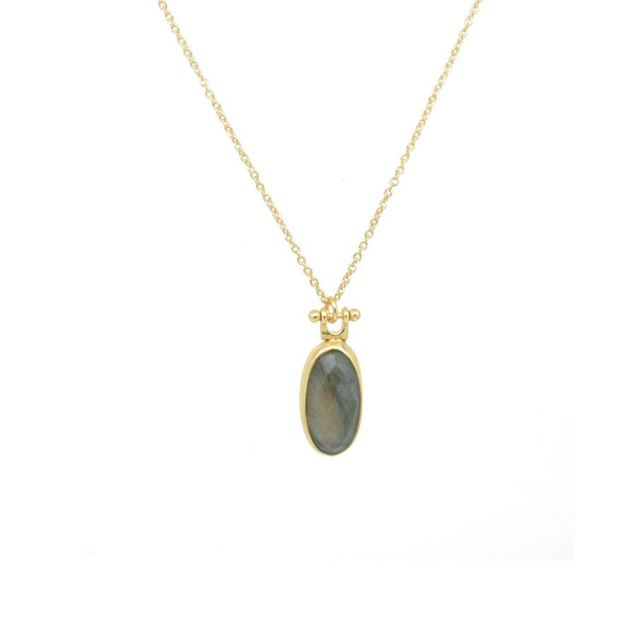 Faceted Labrodorite Pendant Necklace in Gold