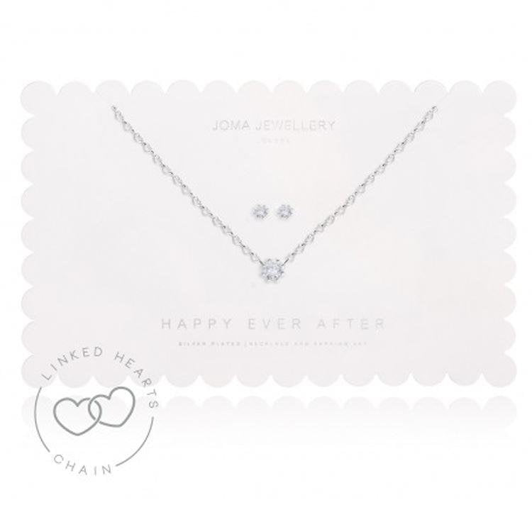 Happy Ever After Prong Crystal Earrings And Necklace Set