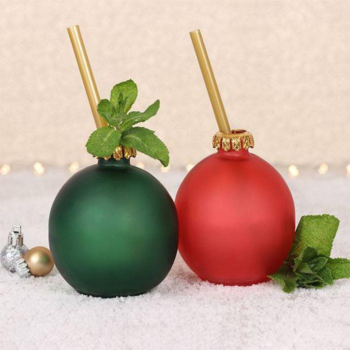 Red & Green Festive Bauble Glasses | Set of 2